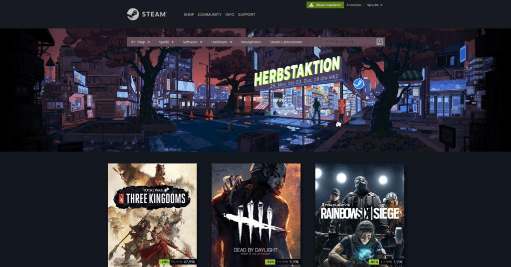 Startseite von Steam zur Herbstaktion 2019