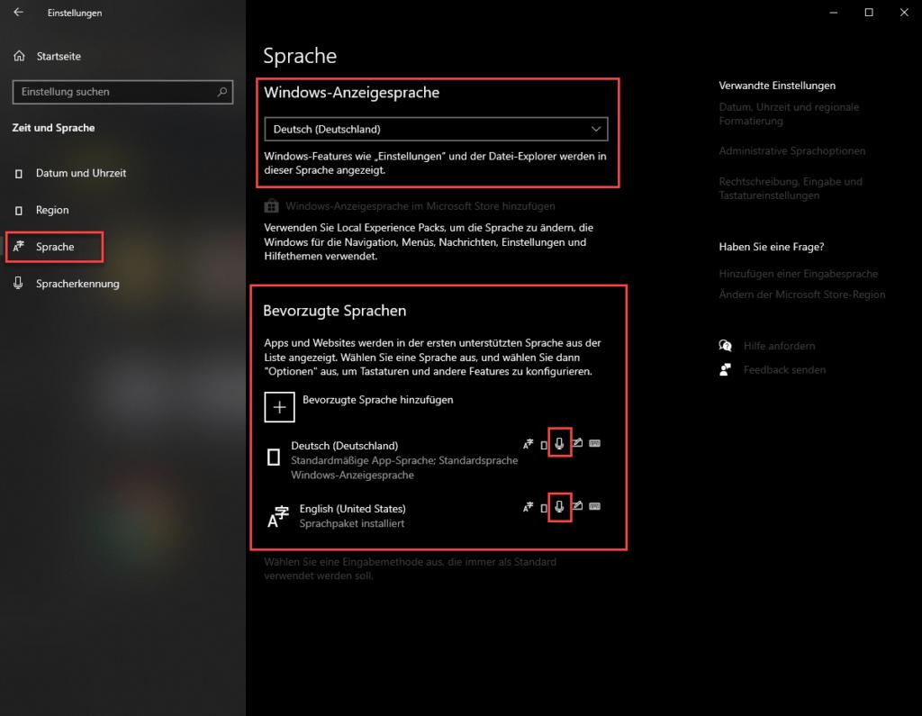 Die Spracheinstellungen in Windows 10: So soll es aussehen, wenn es fertig eingerichtet ist.